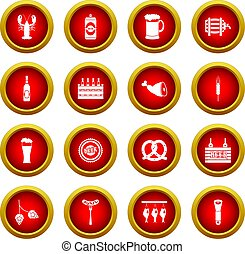 Beer icon red circle set