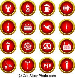 Beer icon red circle set