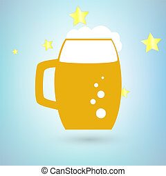 Beer icon with stars on blue background.