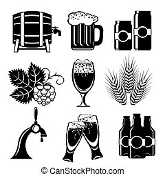 beer icons - set icons of beer. Vector black and white...