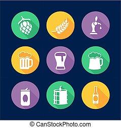 Beer Icons Flat Design Circle