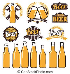 Beer icons, labels, signs, symbols