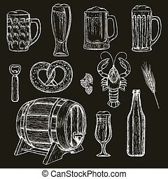 Beer icons on black background