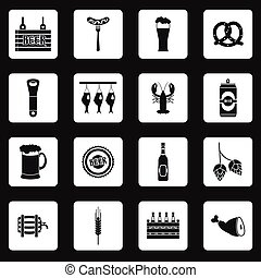 Beer icons set in simple style