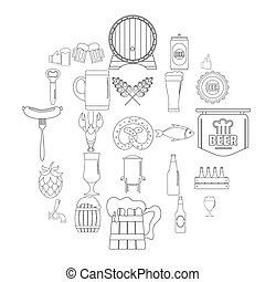 Beer icons set, outline style