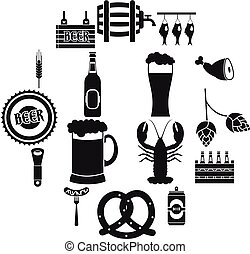 Beer icons set, simple style