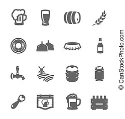 Beer icons - Simple set of beer related vector icons for ...