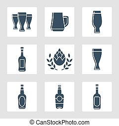 Beer icons vector set