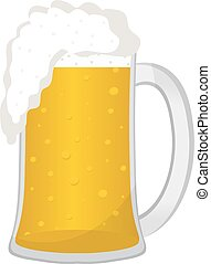 Beer in a glass mug, icon flat style. Isolated on white background. Vector illustration.