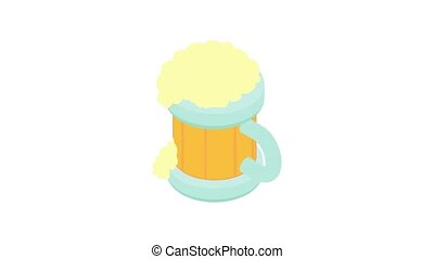 Beer in a wooden mug animation of cartoon icon on white background