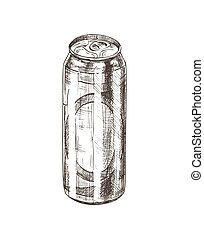 Beer in Aluminum Can Sketch Vector Illustration