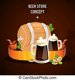 Beer in beerhouse brewery vector beermug beerbottle and dark ale illustration backdrop of beerbarrel in bar on beery alcohol party background banner