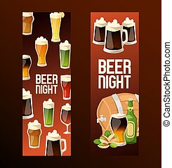Beer in beerhouse brewery vector beermug beerbottle and dark ale illustration backdrop set of beerbarrel in bar on beery alcohol party background banner