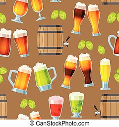 Beer in beerhouse brewery vector beermug or beerbottle and dark ale in bar on beery party with alcohol and beered up in pub illustration seamless pattern background