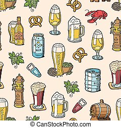 Beer in beerhouse brewery vector beermug or beerbottle and dark ale or beerbarrel in bar on beery party with alcohol set illustration seamless pattern background