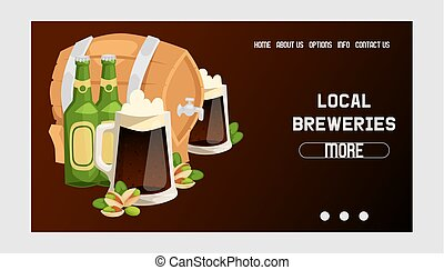Beer in beerhouse brewery vector web page beermug beerbottle and dark ale illustration backdrop of beerbarrel in bar on beery alcohol party background landing web-page