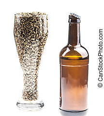 beer in bottle and glass isolated on white