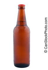 Beer in bottle isolated on white background.