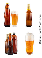 Beer in bottles, glass, set. Isolated on white. Clipping path.