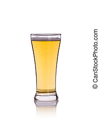 Beer in clear grass. Studio shot isolated on white