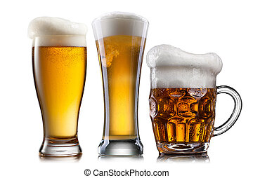 Beer in different glasses isolated on white background