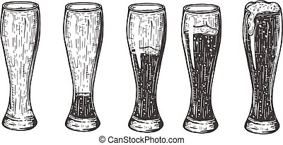 Beer in glass different amount set