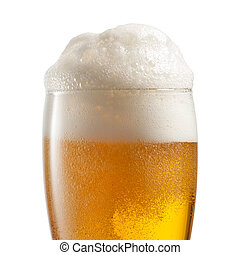 Beer in glass isolated on white bac