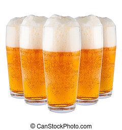 Beer in glasses.
