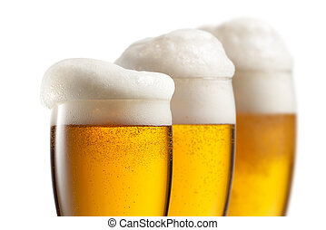 Beer in glasses isolated on white