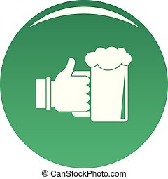 Beer in hand icon vector green