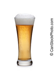 beer into glass - Beer glass on a white background