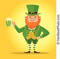 beer., irlandese, vettore, cartone animato, uomo