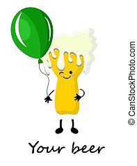 Beer is a cute character with a balloon.