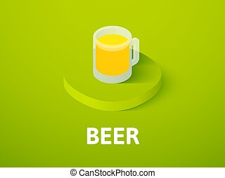 Beer isometric icon, isolated on color background