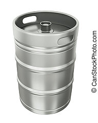 Beer keg over white background. 3D render.