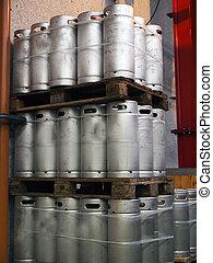 Beer Kegs - Beer kegs barrels in a brewery pub
