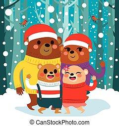 beer, kerstmis, gezin