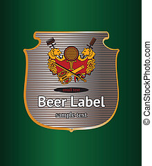 Beer label with golden bears and arms
