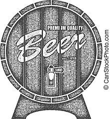 Beer label in form wooden barrel.