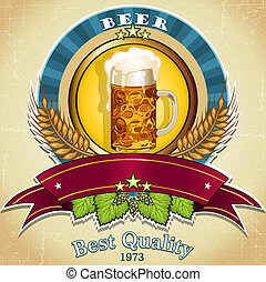 Beer label - Label for beer banner to insert your own text-...