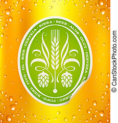 Beer label on beer background with drops - vector ...