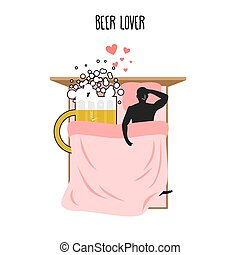 Beer lover. Beer mug and man. Lovers in bed top view. Smoking after sex. Pillow and blanket. Smoking cigarette after making love. Romantic illustration alcohol