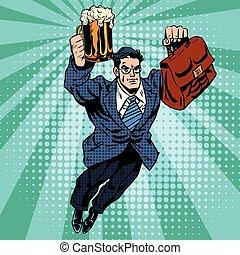Beer man superhero flying
