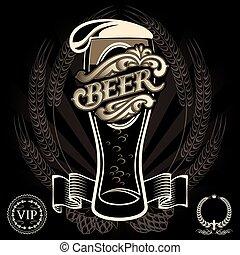 beer menu - vector glass of beer on a black background for...