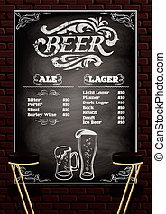 beer menu on the brick wall background