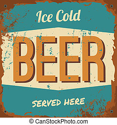 Beer Metal Sign - Vintage style tin sign 'Ice Cold Beer'.