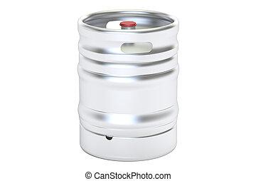 Beer metallic keg, 3D rendering isolated on white background