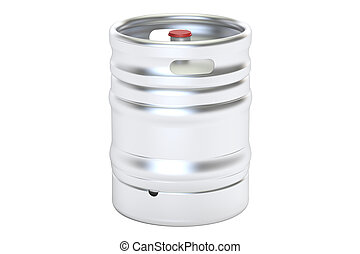 Beer metallic keg, 3D rendering isolated on white background