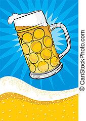 beer - mug and background - golden light draft beer - in...