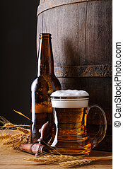 Beer mug and bottle - Still life with beer mug, bottle, ...